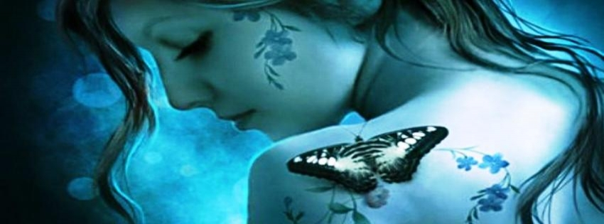Girl with butterfly timeline cover - Facebook timeline covers maker